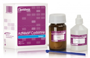 Адгезор Карбофайн Adhesor carbofine-поликарбоксилат. цемент для врем. пломб, 80гр+40мл. SPOFA DENTAL